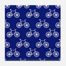 White Bicycle, Cycling Pattern; Dark Blue Tile Coa