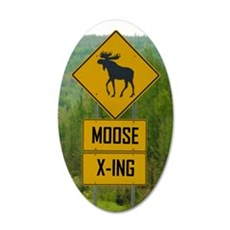 MOOSE CROSSING 20x12 Oval Wall Decal