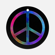 Multicolor Peace Sign Ornament (Round)