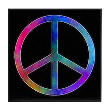 Multicolor Peace Sign Tile Coaster