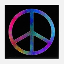Multicolor Peace Sign Tile Coaster