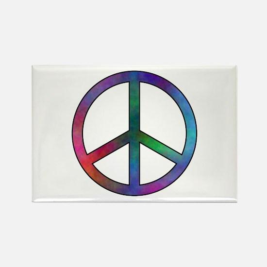 Multicolor Peace Sign Rectangle Magnet