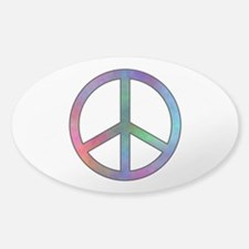 Multicolor Peace Sign Oval Decal