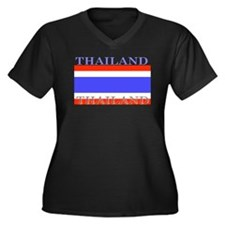 Thailand Thai Flag Women's Plus Size V-Neck Dark T