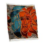 Hatha Sun/Moon Version 3 Burlap Throw Pillow