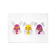 Easter Bunny Eggs 5'x7'Area Rug