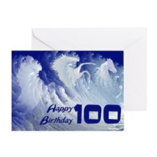 100th birthday, wild white surf horses Greeting Ca
