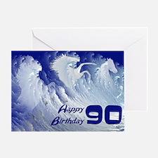 90th birthday, wild white surf horses Greeting Car