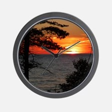 Lake Superior sunset Wall Clock