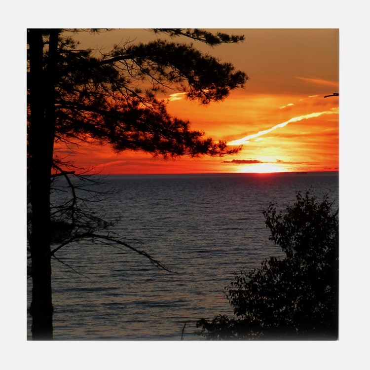 Lake Superior sunset Tile Coaster