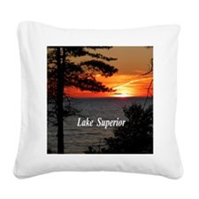 Lake Superior sunset Square Canvas Pillow