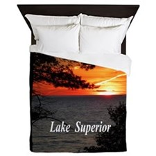 Lake Superior sunset Queen Duvet