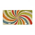 Psychedelic Retro Swirl Aluminum License Plate