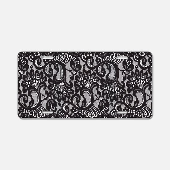Black Lace Aluminum License Plate