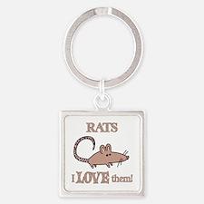 Rats Love Them Square Keychain