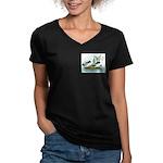 Magpie Drake and Duck Women's V-Neck Dark T-Shirt