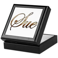 Gold name Sue Keepsake Box
