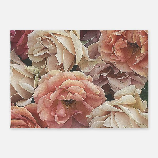 great garden roses, vintage look 5'x7'Area Rug