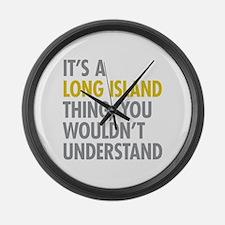 Long Island NY Thing Large Wall Clock