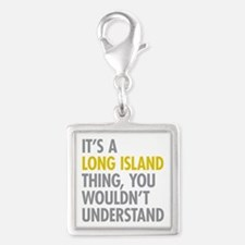 Long Island NY Thing Silver Square Charm