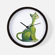 The Green Cat Wall Clock