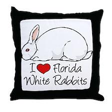 I Heart Florida White Rabbits Throw Pillow