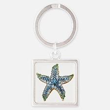 Rhinestone Starfish Costume Jewelr Square Keychain