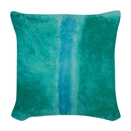 Woven Blue Throw Pillow : ROTHKO SHADES OF GREEN BLUE Woven Throw Pillow by ThingsCollectable