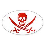 Pirates Red Oval Sticker