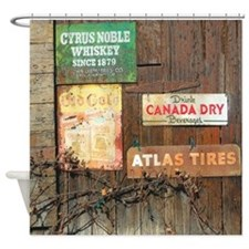Weathered Wood Vintage Signs Shower Curtain