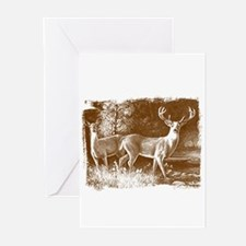 Brown Colored double deers Greeting Cards