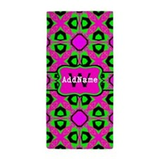 Neon Pink and Green Monogram Beach Towel