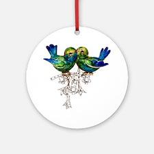 Lovebirds Love Birds Vintage Ornament (round)