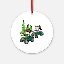 Kids Riding ATVs Ornament (Round)