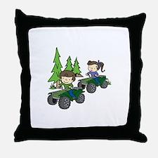 Kids Riding ATVs Throw Pillow