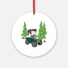 Girl Riding ATV Ornament (Round)