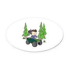 Girl Riding ATV Oval Car Magnet