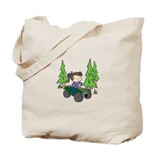 Girl Riding ATV Tote Bag