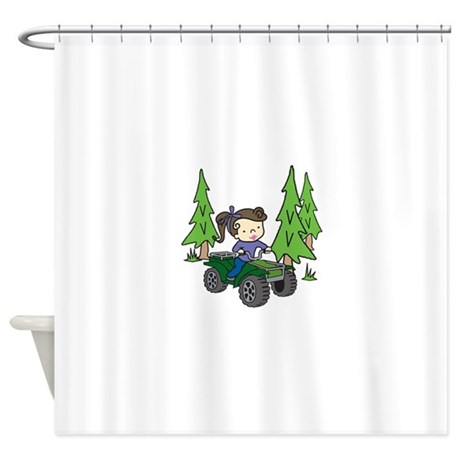 girl riding atv shower curtain by concord17