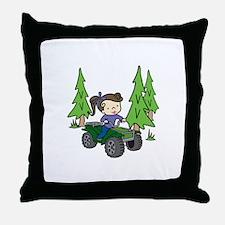 Girl Riding ATV Throw Pillow