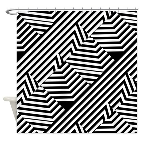 Graphic Black And White Stripes Shower Curtain By OhSoGirlyTKDesigns