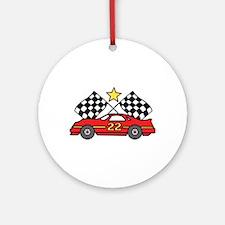 Checkered Flags Car Ornament (Round)