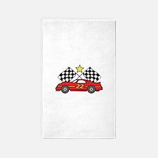 Checkered Flags Car 3'x5' Area Rug