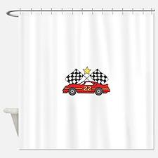 Checkered Flags Car Shower Curtain