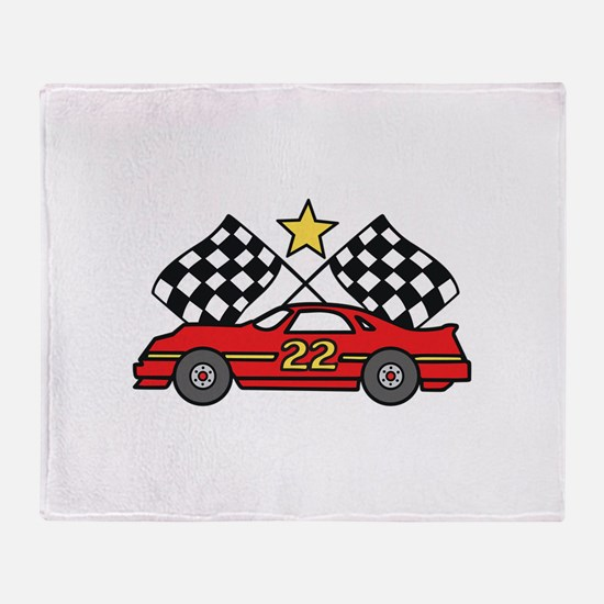 Checkered Flags Car Throw Blanket