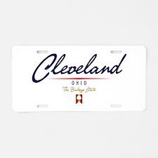 Cleveland Script Aluminum License Plate