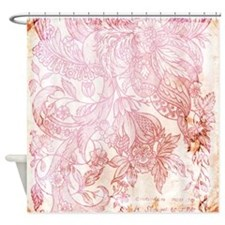 Vintage Floral SC Red and Cream Shower Curtain