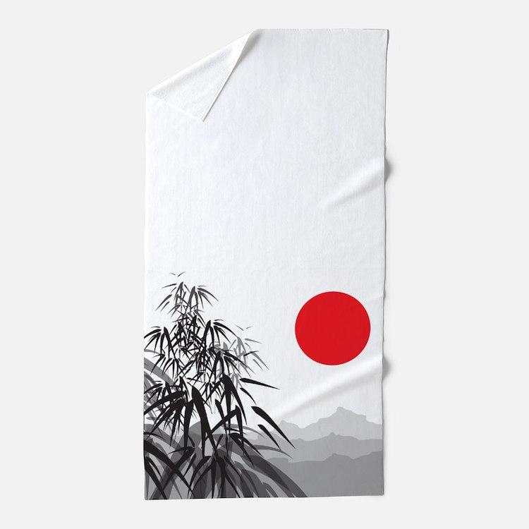 Asian Landscape Beach Towel