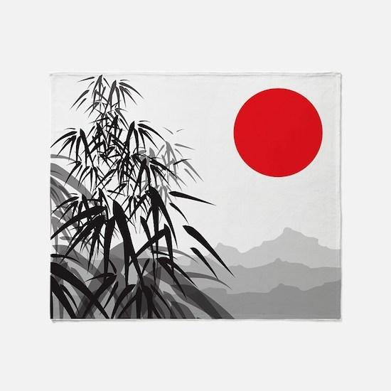 Asian Landscape Throw Blanket