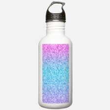 Colorful Retro Glitter And Sparkles Water Bottle